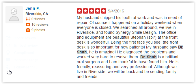 Dr Kianor Shahmohammadi Yelp Reviews